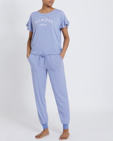 Dunnes Stores | Navy Frill Sleeve Pyjamas