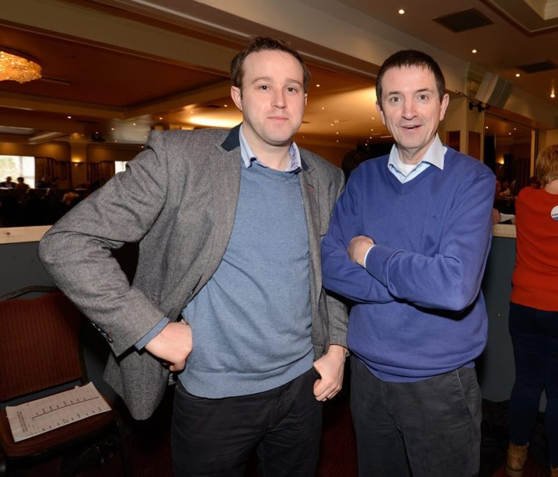Mark Dunphy of Dunphy Communications pictured with Clare Champion reporter Austin Hobbs during the Clare General Election Count in 2016