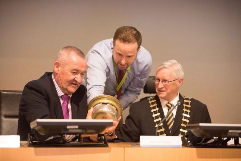 Mark Dunphy of Dunphy Communications pictured with Pat Dowling, Chief Executive of Clare County Council, and Cllr. Michael Begley, Mayor of Clare