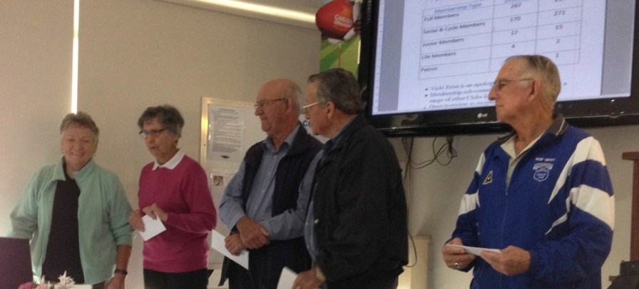 Our new Life Members honoured at our recent AGM. L to R - Estelle Perry, Jill Winter, Ian Potts, Brian Morris and Rod Grist.