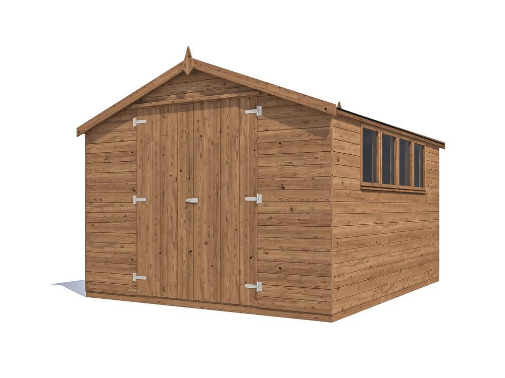 12x10 Large Garden Shed Heavy Duty Pressure Treated Tool