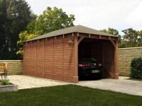 "Wooden Log Garage Hercules Single Carport W10' 5"" x D19' 9 ..."