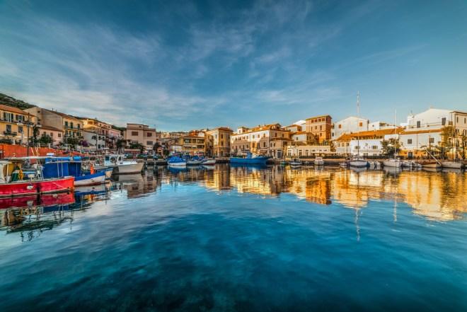 Reflections in La Maddalena harbor at sunset