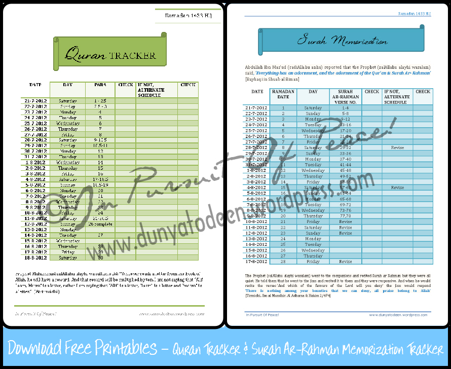 Quran Tracker & Surah Ar-Rahman Memorization Printables (1/5)