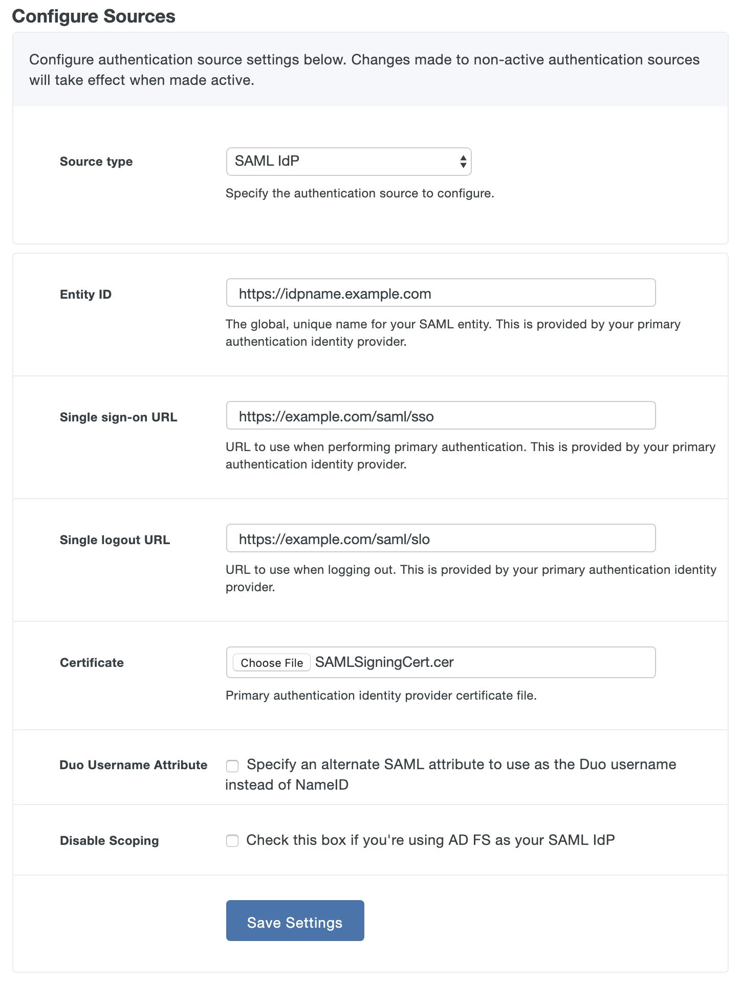 hight resolution of configure saml idp connection