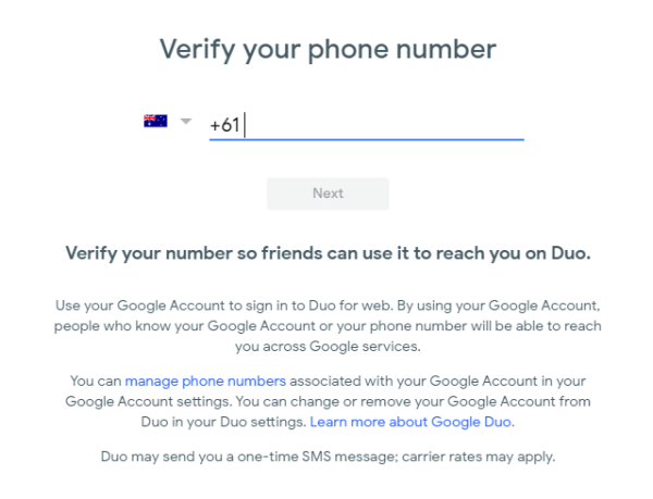 Enter Phone Number-Google Duo on Chromebook