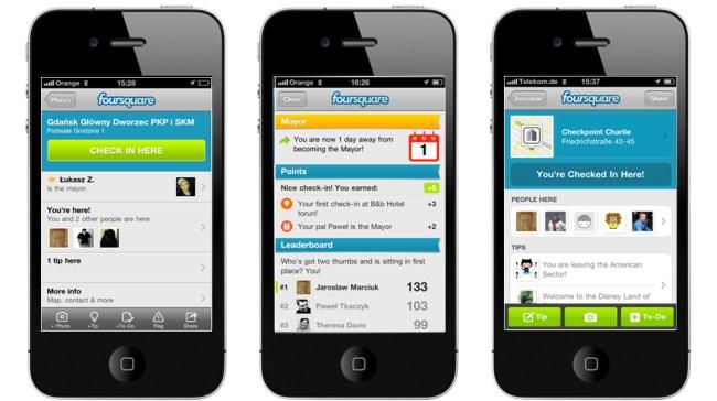 Meldowanie się w Foursquare czyli robienie tzw. check-in w wybranym miejscu (venue)
