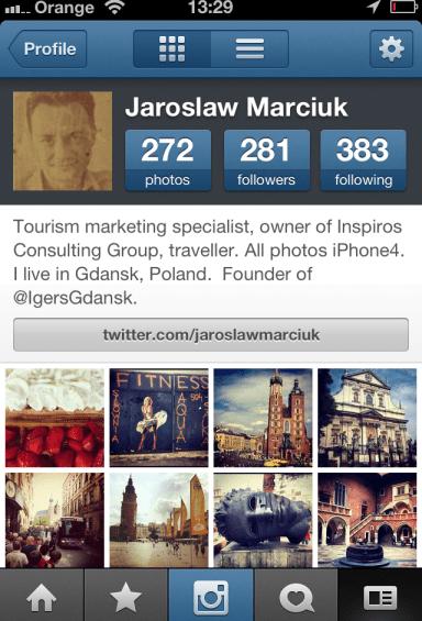 Instagram - profil w aplikacji na smarfonie iphone
