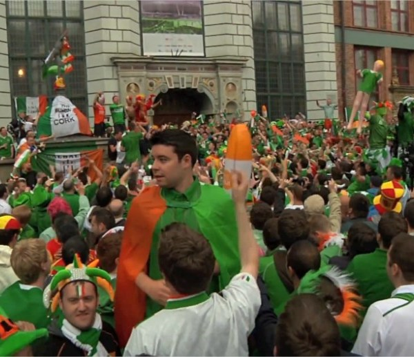 Irish fans Gdansk Euro2012 Stand Up For the Boys in Green song