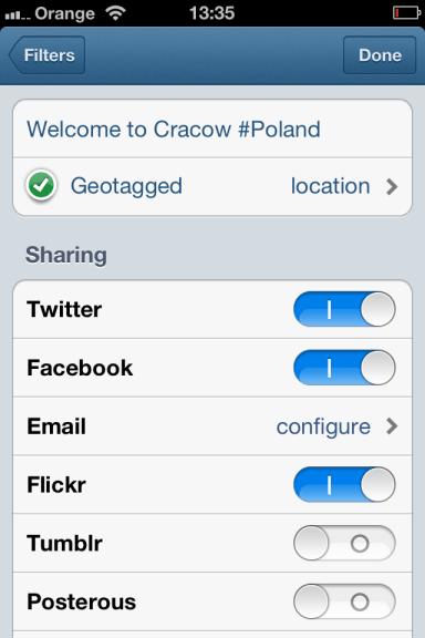 Wstawianie opisu, geolokalizacja i publikowanie zdjęcia Instagram na Facebook, Twitter, Foursqaure, Tumblr i Posterous