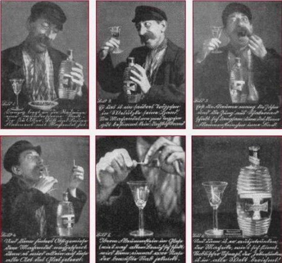 Przedwojenna reklama prezentująca jak pić wódkę Machandel