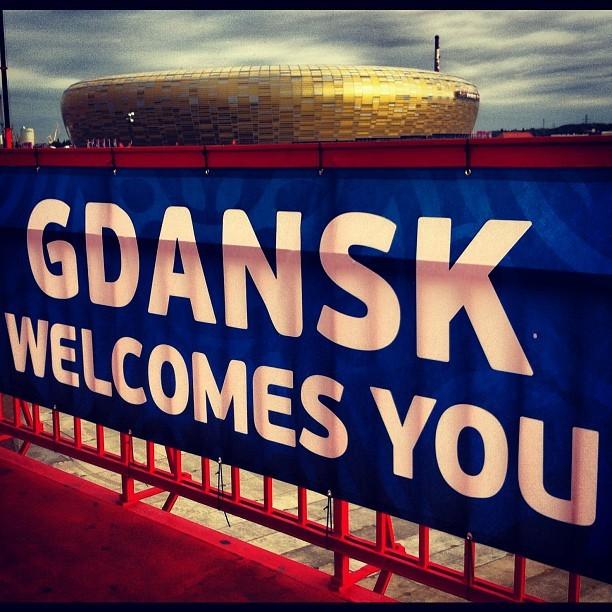 Gdansk Welcomes you Euro2012. Powitanie kibiców przy stadionie PGE Arena w Gdańsku