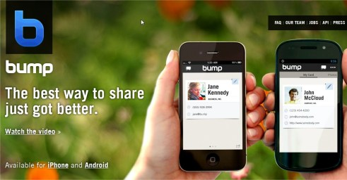 The Bump App for Apple iPhone ipad and Android