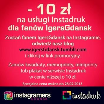 Promocja Instadruk na wydruki z Instagramu dla fanów IgersGdansk