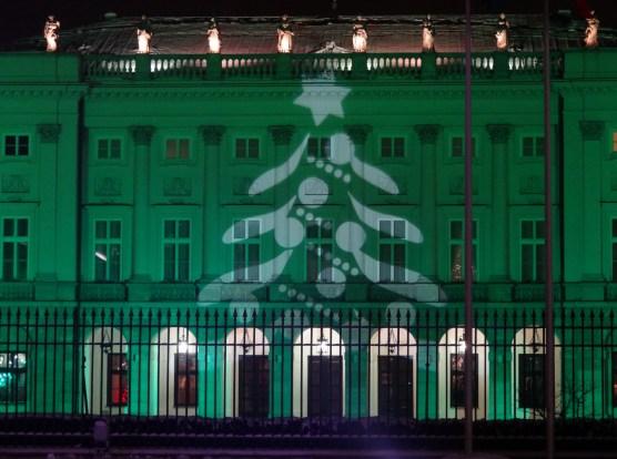 Warszawa Boże Narodzenie 2012  iluminacja Warszawy Pałac Prezydencki