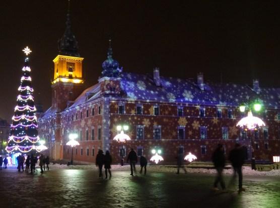 Warszawa Boże Narodzenie 2012  iluminacja Warszawy Zamek Królewski