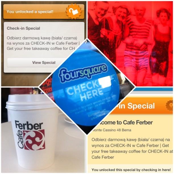 Promocje na Foursquare w Trójmieście - Cafe Ferber Sopot i Gdańsk