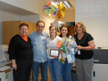 Carol Simler, Executive Director of DuPage PADS; Chuck Watson, Desiree's Uncle; Desiree Faulkner Watson, Youth Volunteer of the Year; Lynn Watson, Desiree's Aunt; and Lynn Zychowski, Support Coordinator.