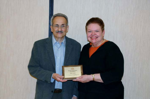 Allan Carter, Volunteer of the Year Award Winner with Carol Simler, DuPage PADS Executive Director.
