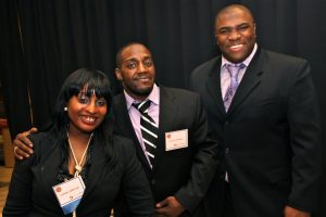 Lamont (center) with Lutisha Jefferson (left), DuPagePads Career Director and Carlos Johnson (right), DuPagePads Employment Specialist.