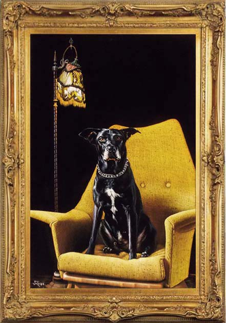 Black Velvet Painting dog on chair in Gold Frame toned down