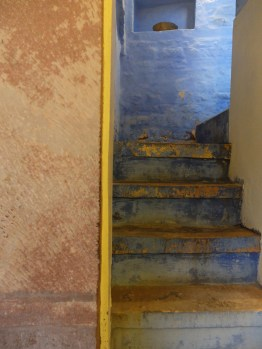 blue pigment mixed with lime and water- yearly wash- india