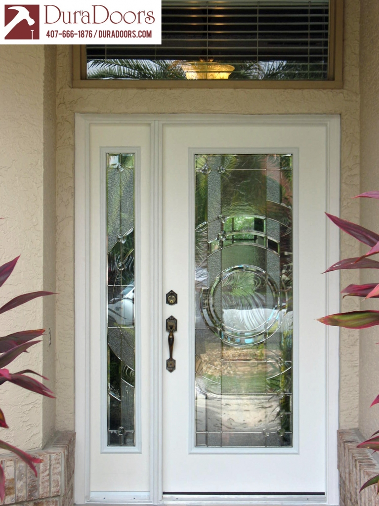Plastpro Entry Door And Sidelight With Entropy Glass By