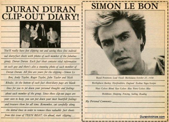 Duran Duran clip-out diary