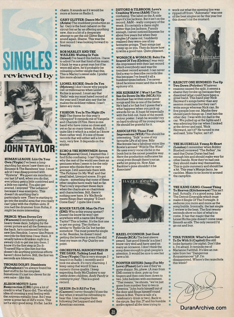 John Taylor reviews singles (1983)