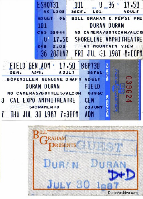Ticket stubs & backstage pass (1987)