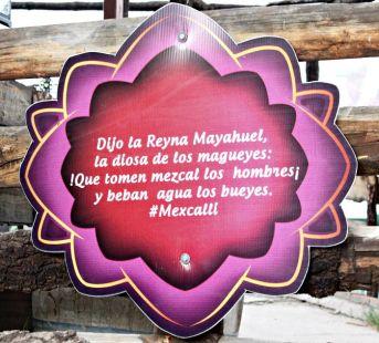 Imagen de un letrero en la Galería del Mezcal de una nota publicada en el sitio web durango.com.mx