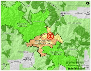 """Wilderness areas in the U.S. are arguably some of the most protected lands in the entire world. The proposed village at wolf creek would disturb and bisect a """"corridor"""" connecting two of the largest wilderness areas in Colorado."""