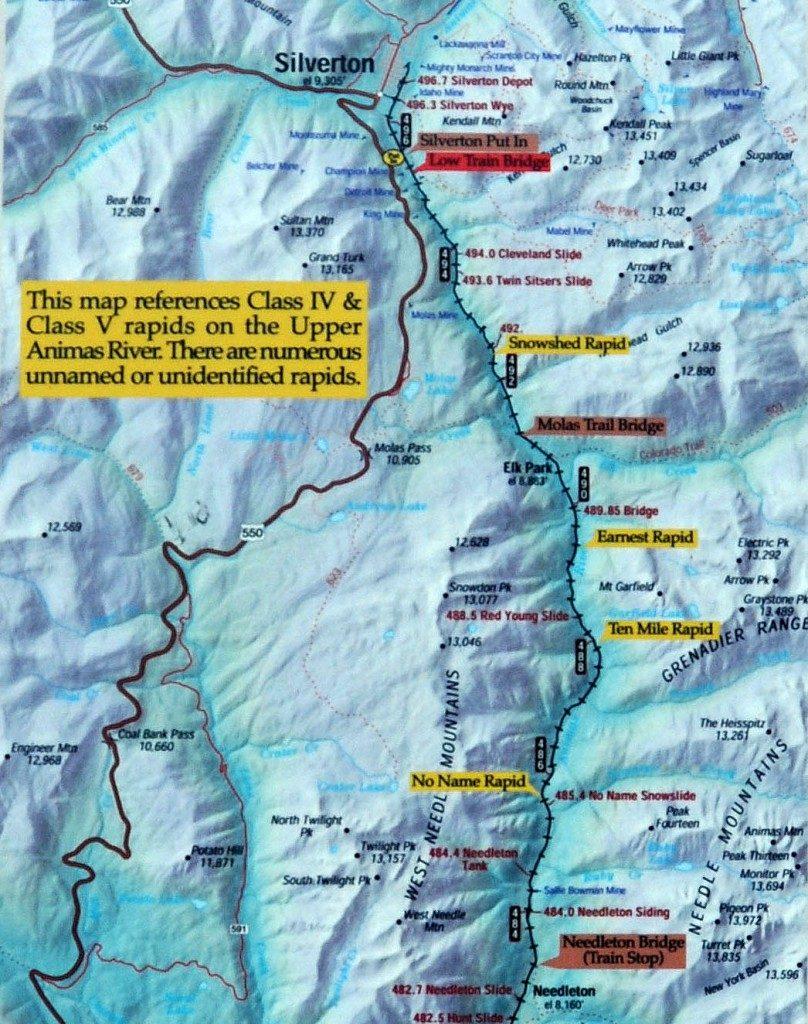 Upper Animas Map  Raft Mesa Verde Train 4x4 Tours Zip