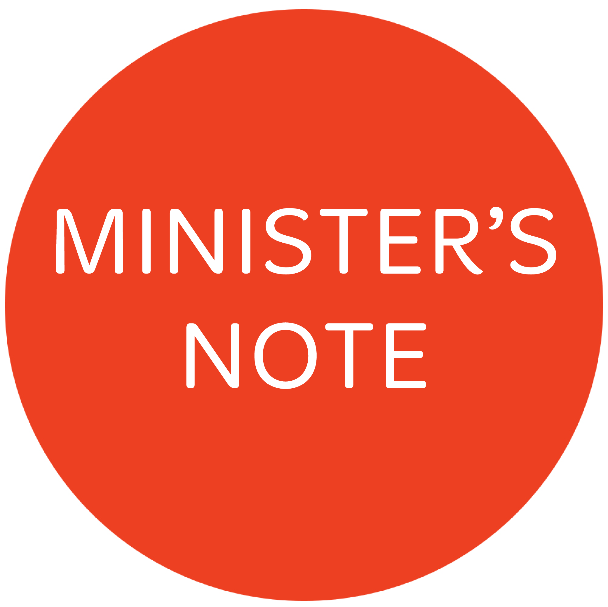 Minister's Note – 31 May 2015