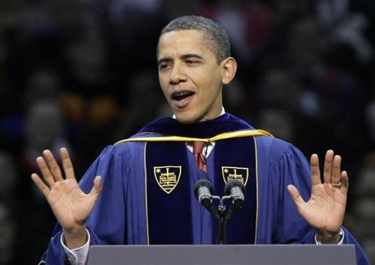 Obama and der University of Notre Dame