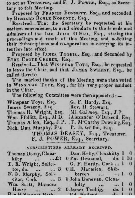 Testimonial of John O'Hea, Esq., Died Clonakilty, Co. Cork