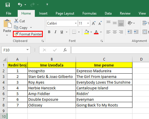 Office Excel format painter