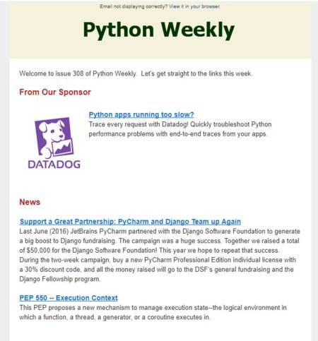data science newsletter python weekly