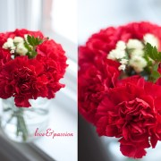 DIY Vases For St-Valentine Flowers: Red Carnations