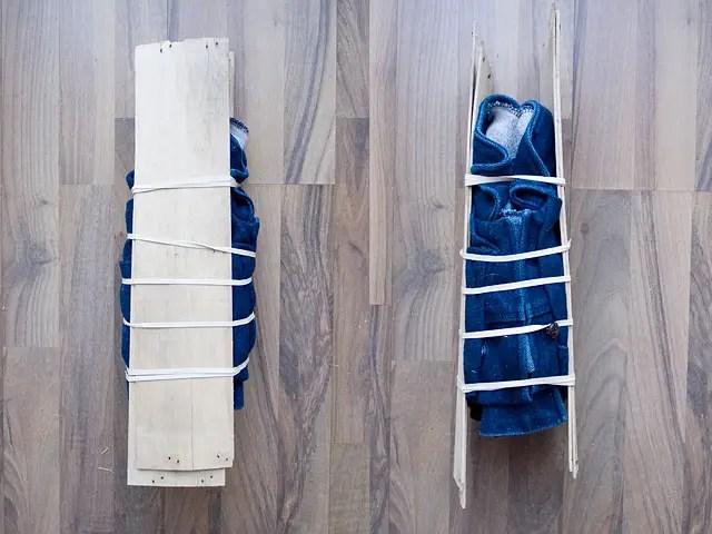 Itajime shibori tie-dye Bleached Studded Denim Jacket DIY Folding
