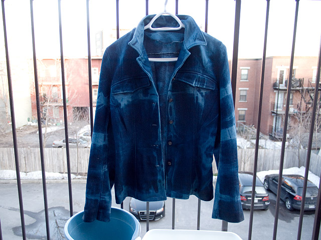 Itajime shibori tie-dye Bleached Studded Denim Jacket DIY Bleaching