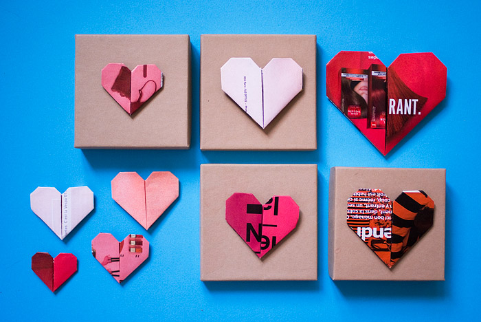 St-Valentine\'s Day Wrap Decoration DIY With Paper Heart Origami ...