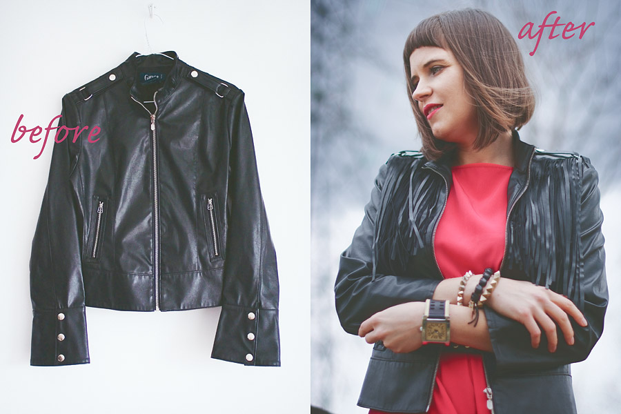 Fringed Jacket DIY Before and After
