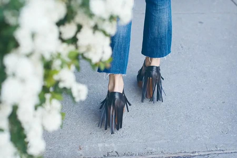 Fringe Shoes DIY Result