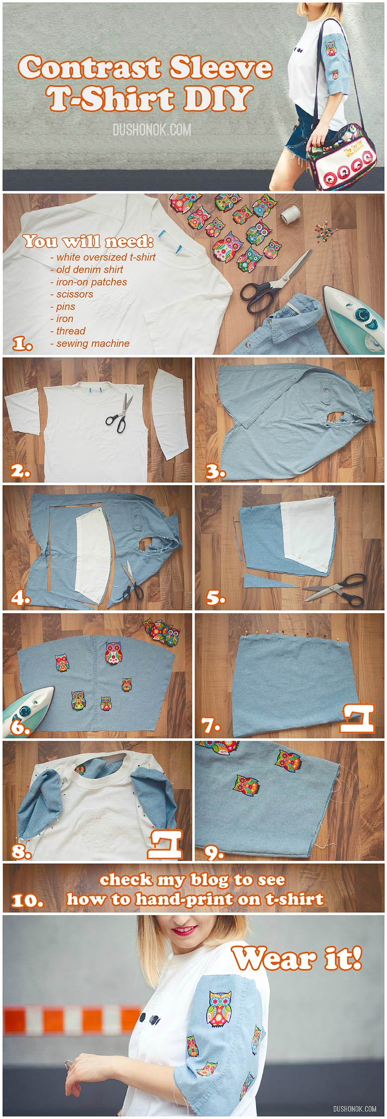 Contrast Sleeve T-Shirt DIY Steps