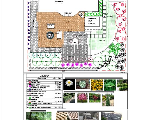 Landscape Design-Backyard with Interlock and Deck