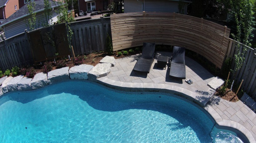Oakville Pool with Custom Cedar Privacy Screen