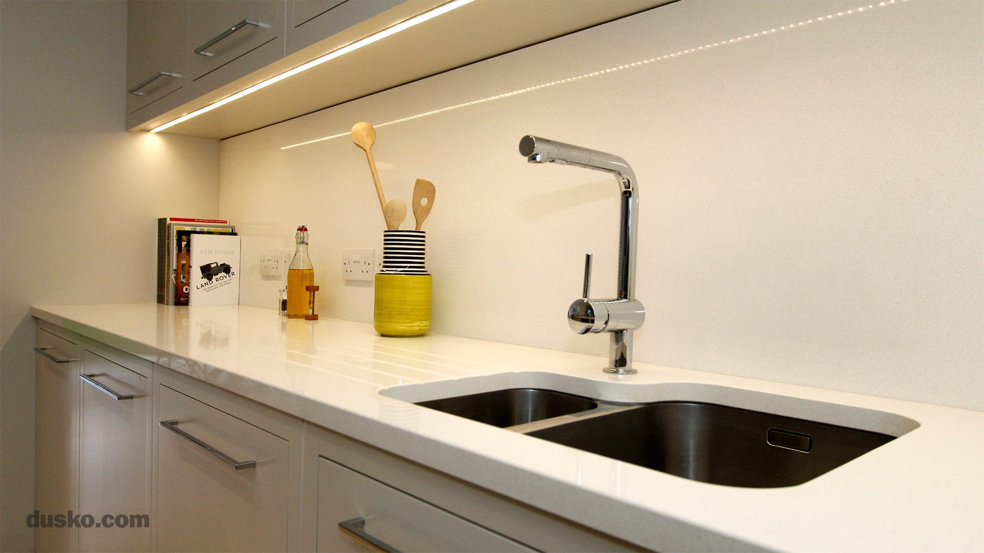 Contemporary Open Plan Kitchen and Dining Area in Handforth, Cheshire Inset Sink