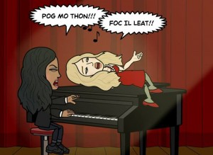 Bitstrips Excercising our Irish pride, auntie and niecey style. With my niece, Emme.