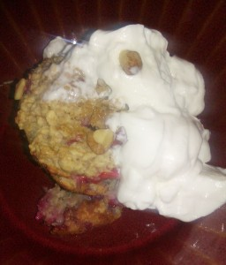 Raspberry Baked Oatmeal Cakes - Fresh out of the oven with a dollop of honey Greek Yogurt.